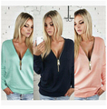 2016 new fall and winter women's casual sexy deep V-neck long-sleeved solid color zipper bat sleeve T-shirt