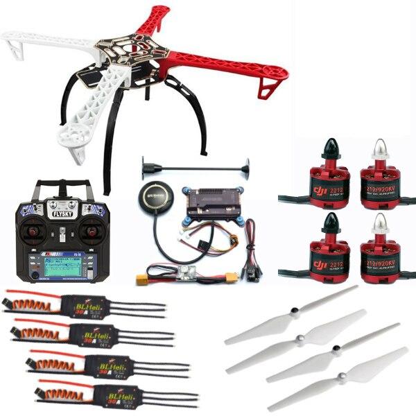 F450 Telaio Quadcopter Drone Kit + 2212 920KV/1000KV Motore + BLheli 30A ESC + 9450/1045 Prop + APM + telecomando con ricevitore FAI DA TE