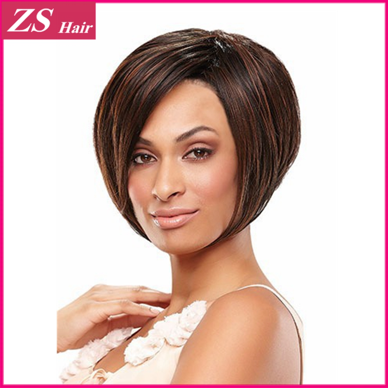 Heat Resistant 1PC Synthetic Bob Wigs For Women Short Blonde Wig With Bangs 100% Japanese Kanekalon Fiber Good Quality