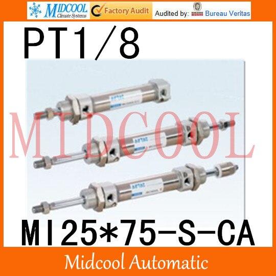 MI série ISO6432 Mini cylindre en acier inoxydable MI25 * 75-S-CA alésage 25mm port PT1/8