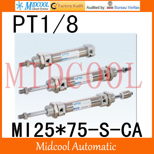 MI Series ISO6432 Stainless Steel Mini Cylinder  MI25*75-S-CA  bore 25mm port PT1/8 купить в екатеринбурге переходник mini iso