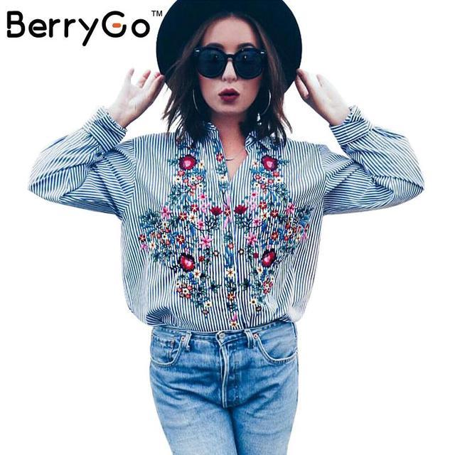 BerryGo camisa azul listrada Casuais 2016 outono inverno fresco manga comprida blusa mulheres tops blusas Bordados camisa blusa feminina