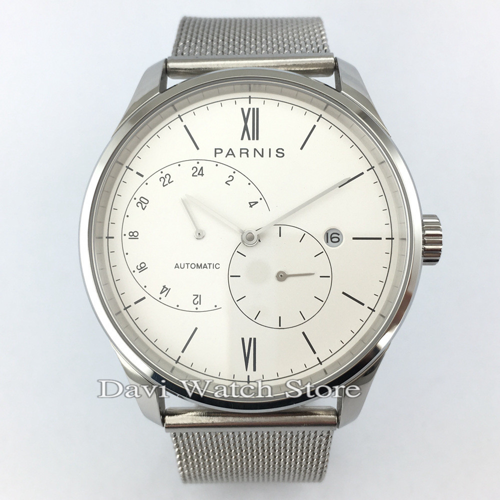 <font><b>Parnis</b></font> 42mm Miyota Automatic Mechanical Movement Silver Case Band Mens Watch image