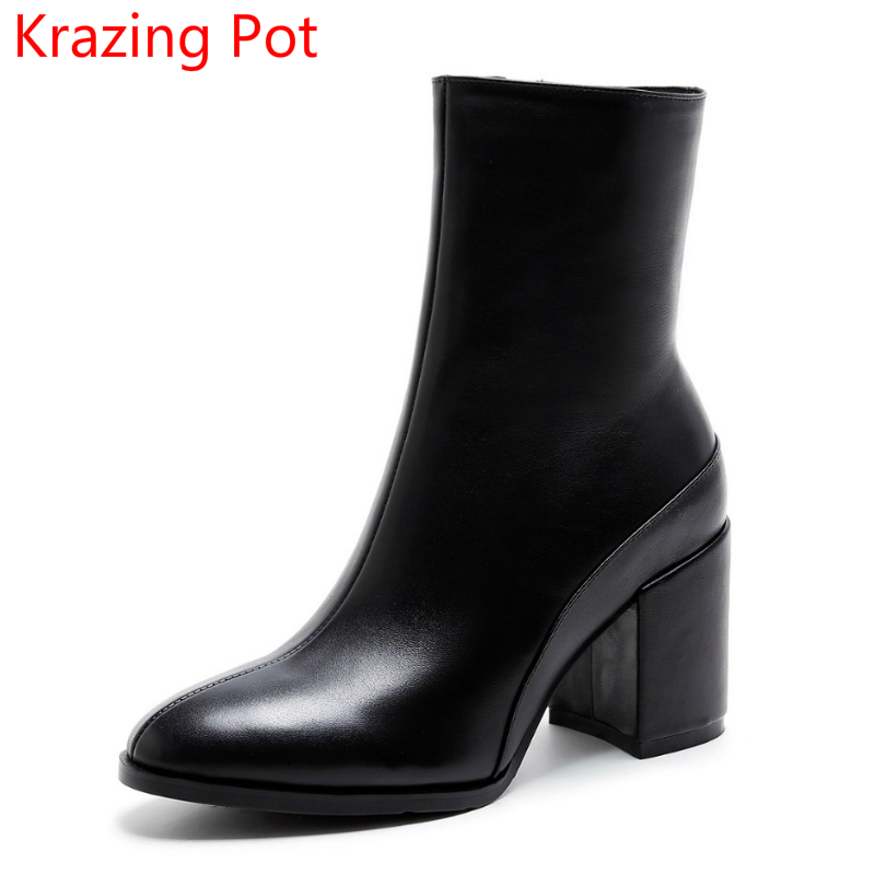 Shoes Woman Round Toe Genuine Leather Thick Heel Office Lady Solid High Heel Causal Winter Shoe Handmade Fashion Ankle Boots L73