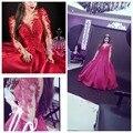Новое Прибытие сшитое V шеи Кружева Бисероплетение Длинным рукавом пром платья 2017 Sexy Саудовская Аравия Пром dress Фуксия Партия платья