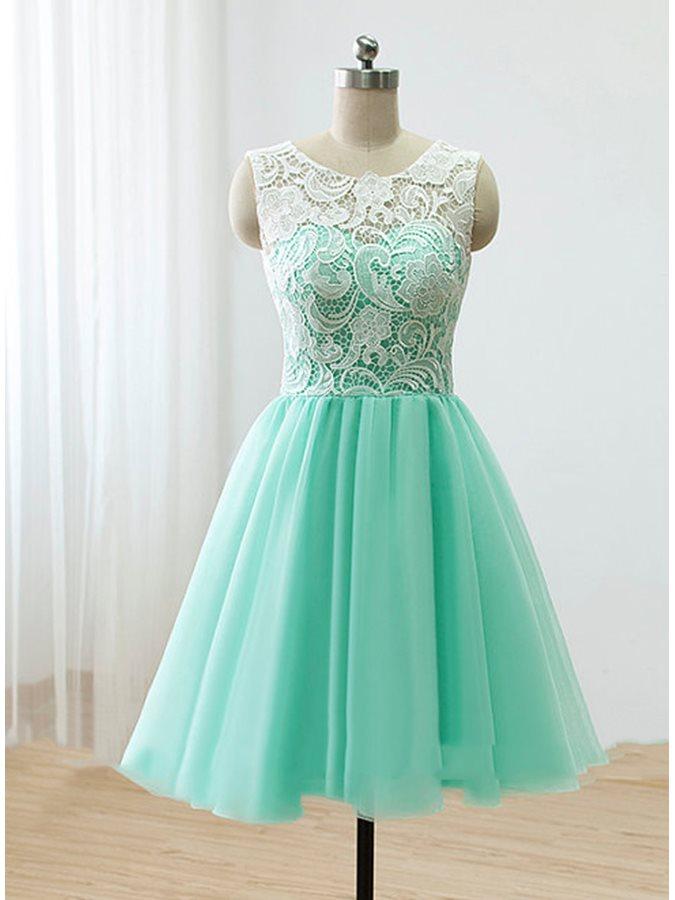 vestidos de festa Ice Blue   Cocktail     Dresses   Simple Scoop Lace Button Short Party   Dress   Cute Homecoming   Dresses
