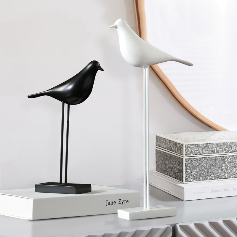 Modern Resin Black And White Birds Figurines Crafts Decoration Home Livingroom Furnishing Decor Office Desktop Ornaments Artwork|Figurines & Miniatures| |  - title=