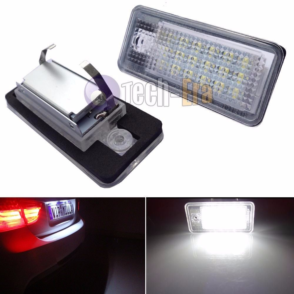 2x CAN-bus White Error Free LED License Plate Light Lamp For Audi A3 A4 A6 S6 A8 Q7 for audi a4 2004 number plate light white led bulb c5w 39mm 3 led canbus error free