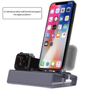 Image 5 - Doca de carregamento 3 em 1, carregador de alumínio para iphone x xr xs max 8 7 apple watch suporte de montagem da doca do iwatch
