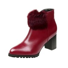 55157d12260f 2018 autumn and winter new female round head wedge suede in the tube Martin  boots fashion comfortable slim boots red ljj 1006