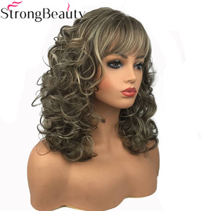 Image 3 - StrongBeauty Womens Long Curly Highlights Wigs Synthetic Wig Capless Hair