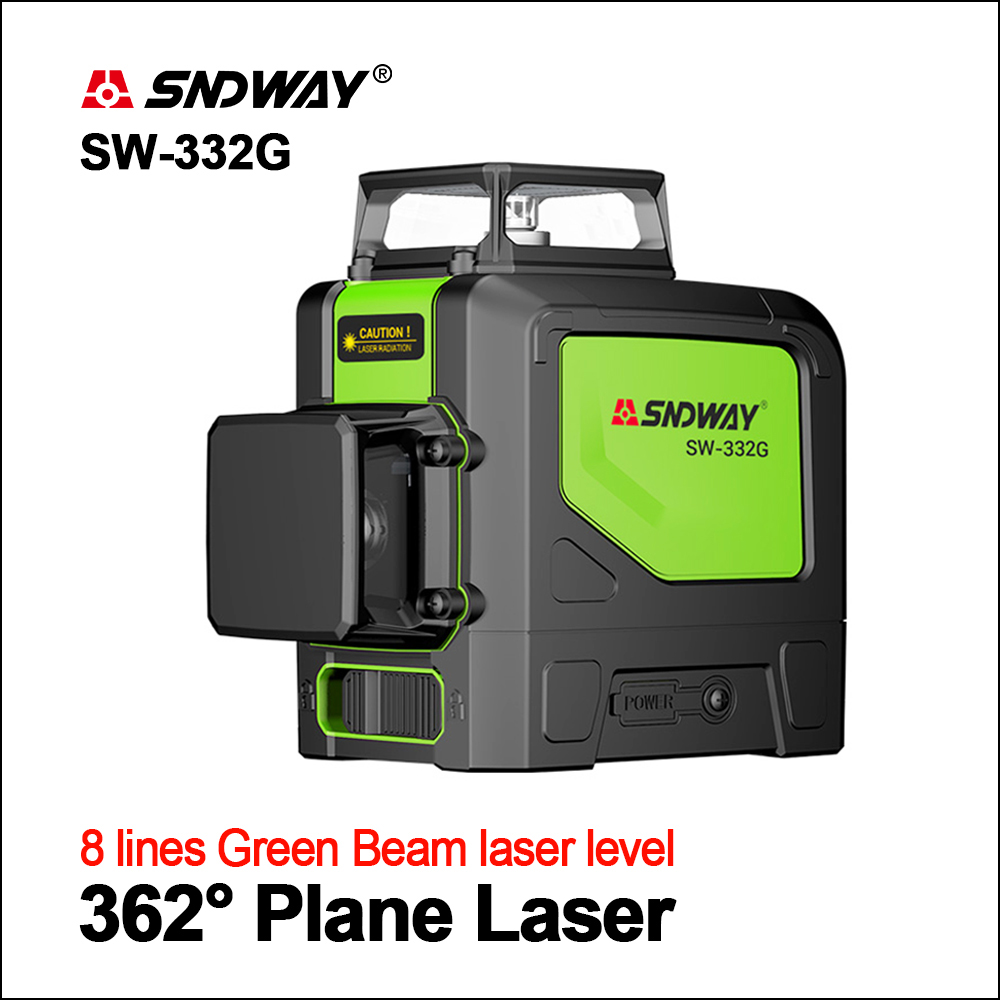 SNDWAY Laser Levels Green Laser Level 360 3D Self Leveling Vertical Horizontal Rotary Outdoor Lasers 8 lines SW 332 Lasers Level