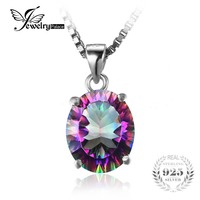 Feelcolor Brand New 2 5ct Genuine Rainbow Fire Mystic Topaz Concave Oval Pendant Necklace Solid 925