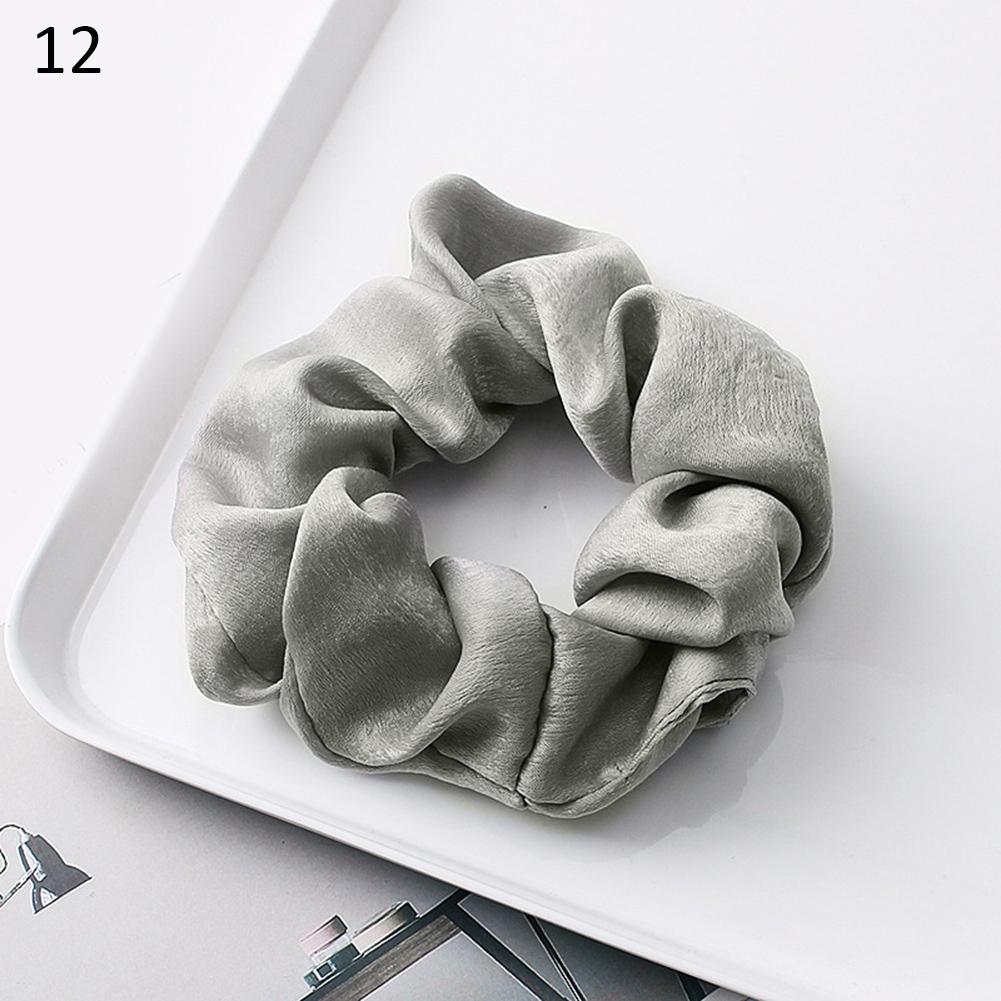 1PC Silky Satin Solid Hair Scrunchies Women Elastic Hair Bands Ponytail Holder Hair Accessories Rope Ties For Girls Headwear 1