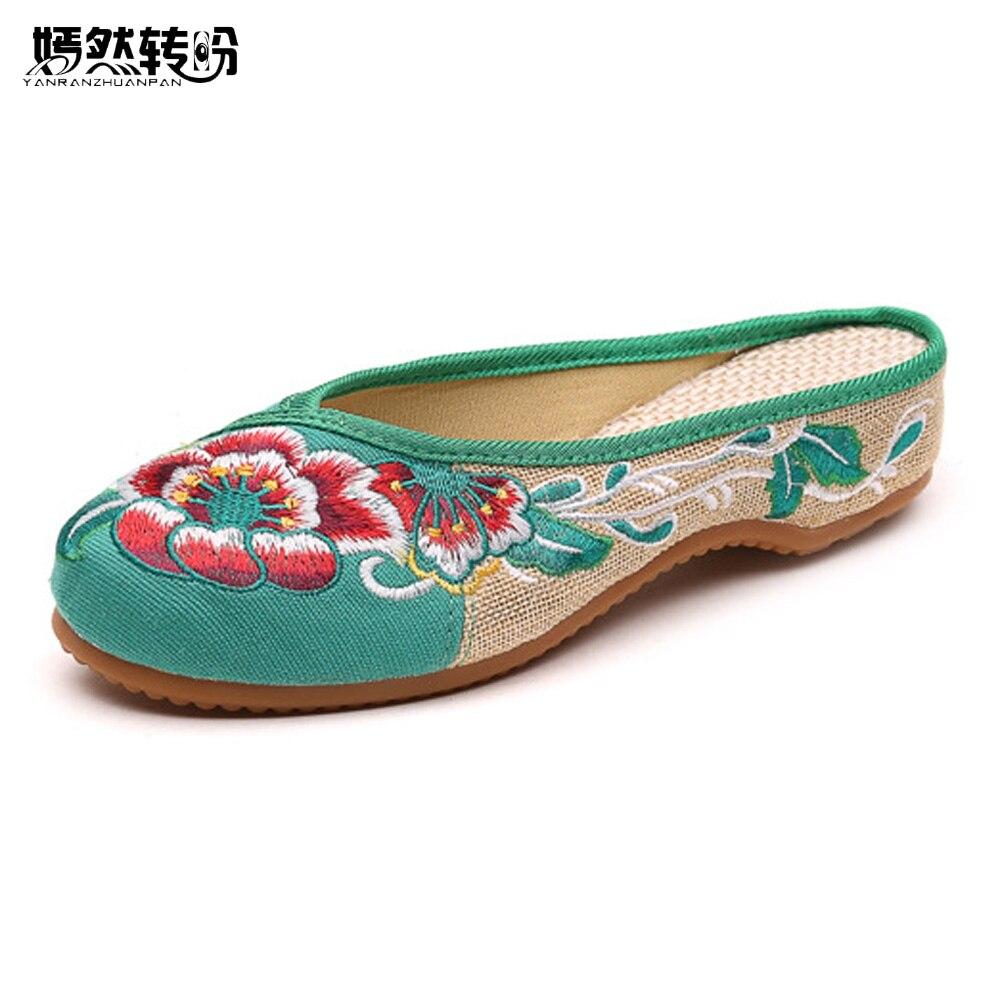 Hausschuhe Frauen Schuhe Frauen Hausschuhe Neue Beiläufige Chinesische Stickerei Sommer Hausschuhe Frau Alten Peking Nationalen Tuch Schuhe Chanclas Mujer Mit Traditionellen Methoden