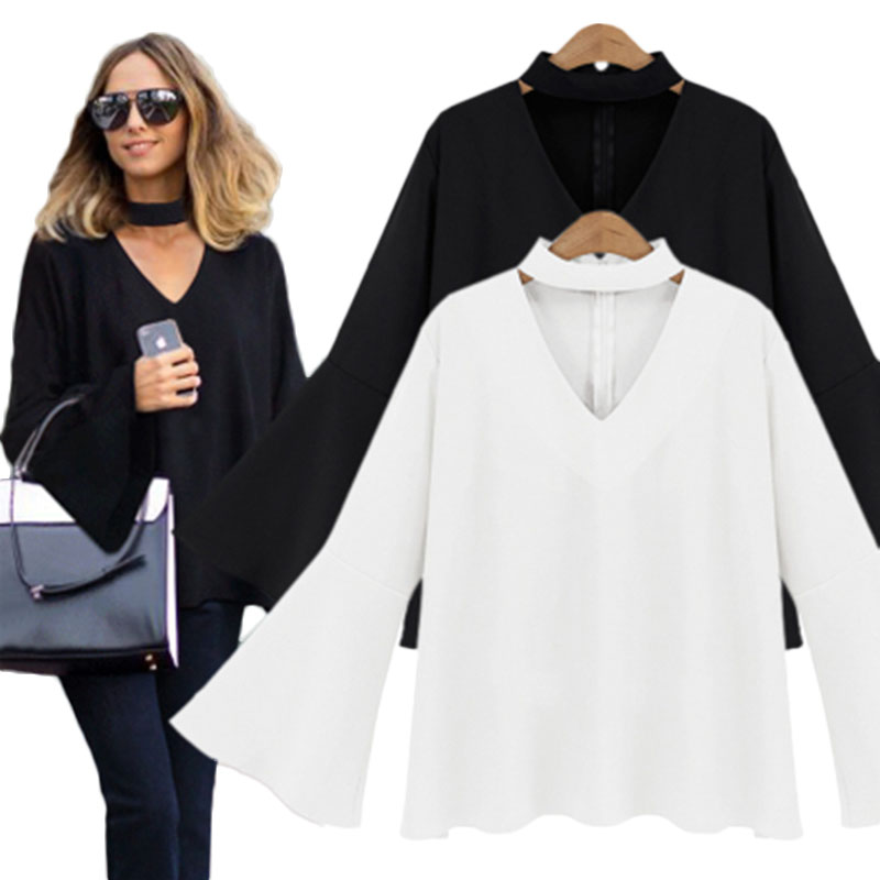 2017 Autumn Winter V-neck Flare Sleeve Shirt Women Choker Top Loose Chiffon Blouse Large Size Blusas Y Camisas Mujer E0213