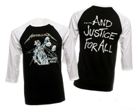 METALLICA Justice For All Raglan 3/4 Sleeve T shirt men two sides gift Casual tee USA size S 3XL