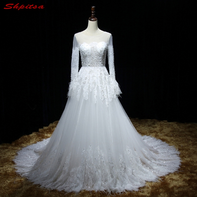 Long Sleeve Lace Wedding Dresses Beaded A Line Tulle Chinese Wedding ...