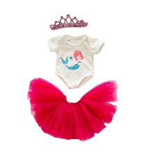 3 pieces Doll Clothes Born New Baby Fit 18 inch 40-43cm Doll Mermaid Crown Suit Flamingo yarn suit accessories For Baby Gift born new baby doll clothes fit 18 inch 43cm doll down dress yarn skirt flamingo watermelon accessories for baby birthday gift
