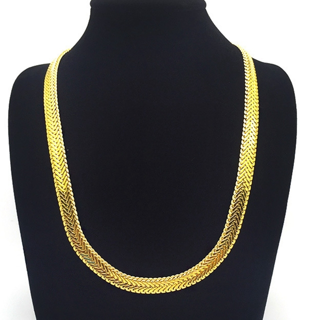Herringbone Chain Yellow Gold Filled Flat Chain Necklace Men Gift 24 inches 84be1d368d67