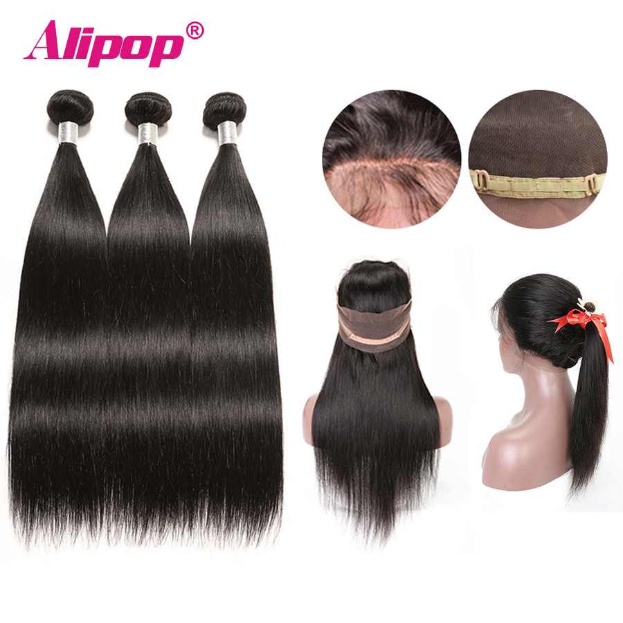 Straight Hair 360 Lace Frontal Closure With Bundles Malaysian Human Hair 3 Bundles With Closure Alipop