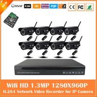 9Pcs WiFi Wireless 960P Bullet P2P IP Camera 9CH H 264 720P 960P 1080P NVR Security