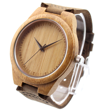 Watch Men/Women Made from Real Bamboo Wood, No Paint and No Chemical, with Geniune Leather Strap