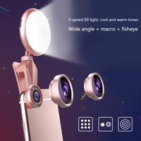 led warm RK19S LED Selfie Flash Light Fill Light Warm&Cold Bulbs With Wide Angles Fisheye Marcro Lens 360 Rotation For iPhone X/8 Phones (3)