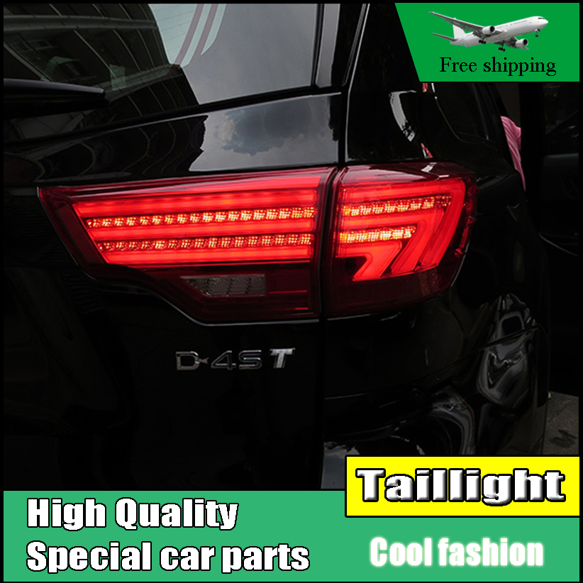 Car Styling Tail Lights For Toyota Highlander 2015 2016 Taillights LED Tail Light Rear Lamp DRL+Brake+Signal Auto Accessories novsight auto car led rear bumper warning light break lamp for toyota highlander 2015 2017 red tail light free shipping