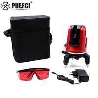 PUERCI 5 lines 6 points 360 degrees rotary LD 635nm outdoor mode receiver and tilt slash available auto line laser level