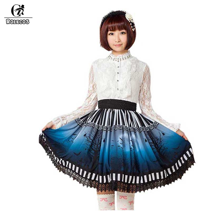 ROLECOS classique gothique lune impression jupe courte pour les femmes taille élastique Lolita jupe avec dentelle noire japonais Cosplay SK 2018
