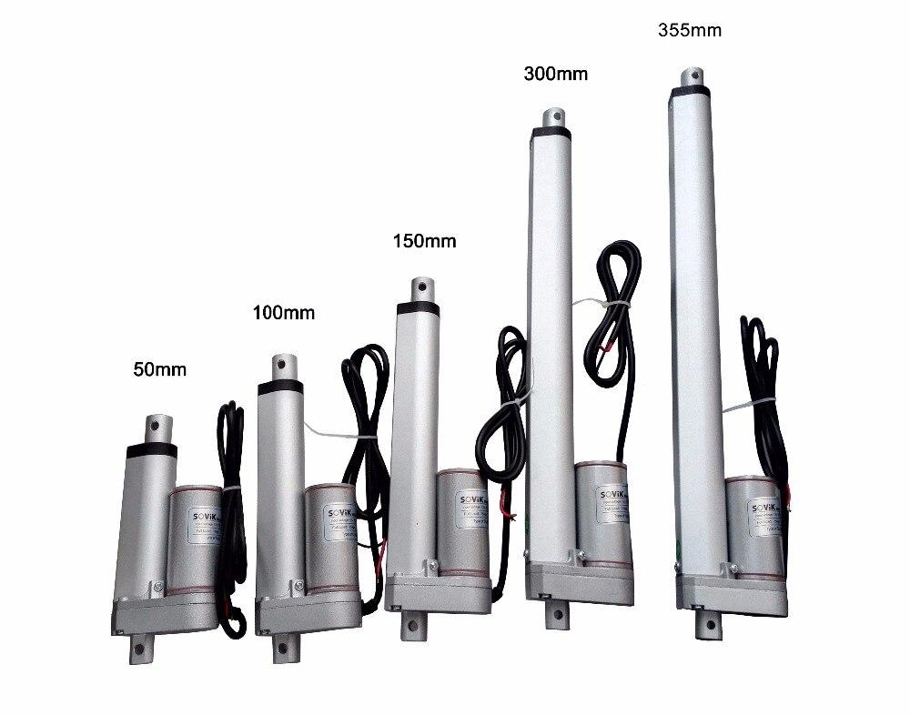 цена на SOVik 50mm 100mm 150mm 300mm 355mm Stroke Linear Actuator 12V DC 500N Max Lift Heavy Duty Electric Multi-function