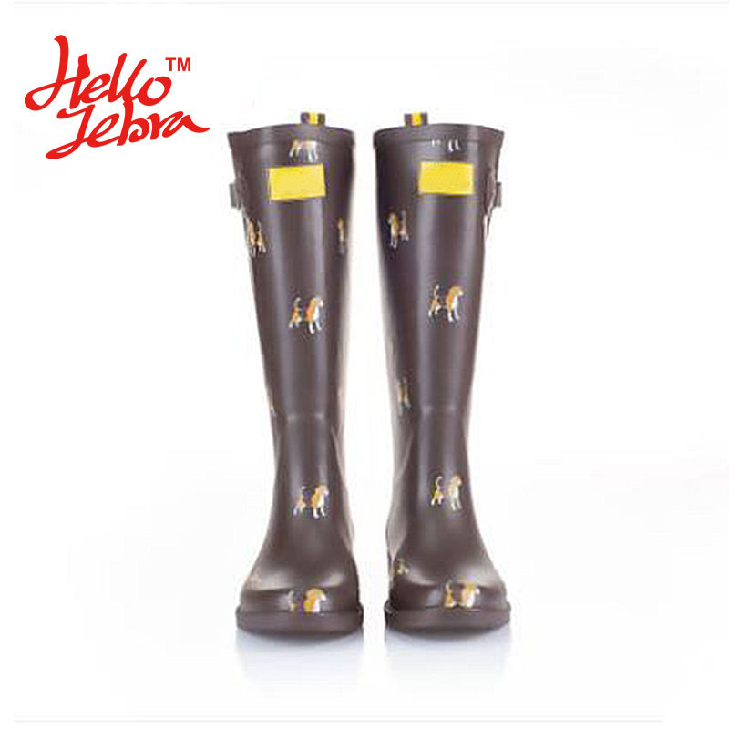 Women Fashion Rain Boots Printing Dogs Ladies Rubber MIid-Calf Hoof Heels Waterproof Buckle Rainboots 2016 New Fashion Design free shipping fashion madam featherweight rubber boots rainboots gumboots waterproof fishing rain boots motorcycle boots