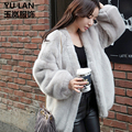 Faux женщин норки свободные пальто форме крыла летучей мыши рукав черный серый цвет шубы женские зимние пальто 2016 мода