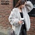 Las mujeres de imitación de visón abrigo de piel floja del batwing manga negro gris color de piel de abrigos de las mujeres abrigo de invierno 2016 moda