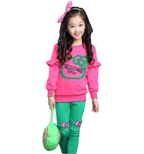 Children s clothing 2017 Autumn cotton stretch children cartoon candy color girl sports suit