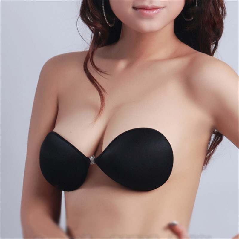 Fashion Invisible Strapless Breast Bra Women Black Self -2451