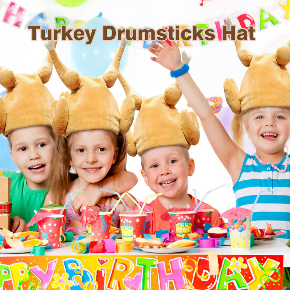 Thanksgiving Funny Winter Turkey Leg Chicken Hat Toy Cap Plush Hats Holiday Party Christmas Decorative Can Singing Toys Hat