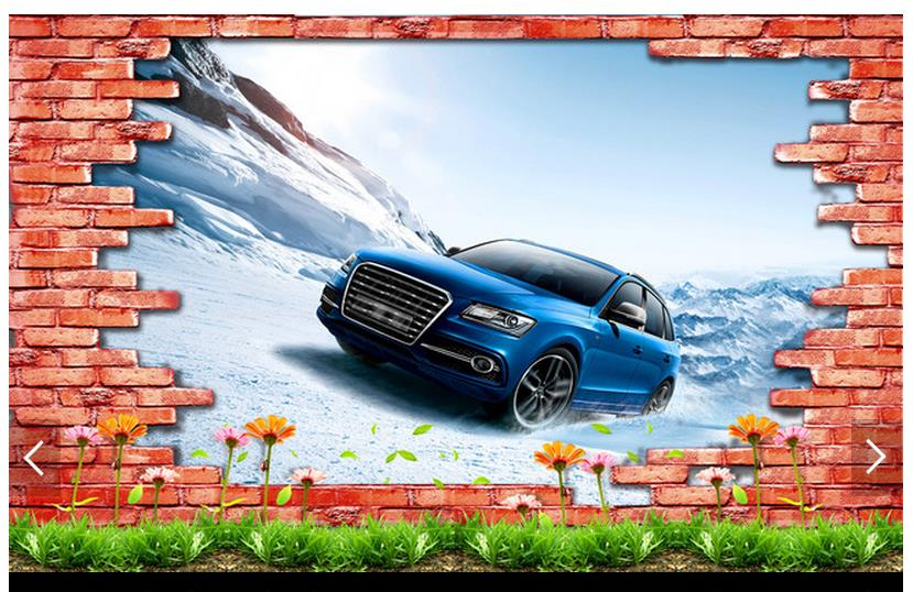 Customized 3d photo wallpaper 3d TV wall wallpaper murals Super clear 3 d TV setting wall brick wall car living room wallpaper