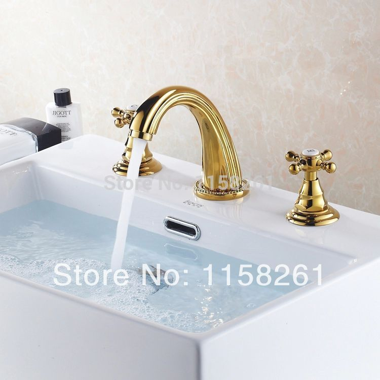 Basin Faucets Polished Gold Brass Modern Bathroom Sink Faucet Double Cross Handle 3 Hole Bathbasin Counter Mixer Taps HJ-6726K bathroom sink drainer brass push dwon pop up chrome polished overflow hole basin parts faucet accessoriespjxsq003c y