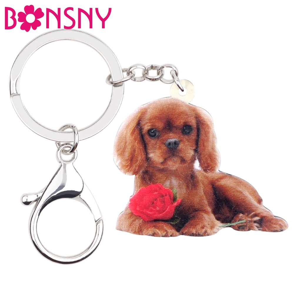 Bonsny Acrylic Cavalier King Charles Spaniel Dog Key Chain Keychains Cute Animal Jewelry For Women Girls Gifts Car Pendant Party