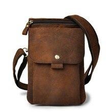 Hot Sale Top Quality Genuine Real Leather Cowhide men vintage Messenger Bag Pouch Waist Pack Bag