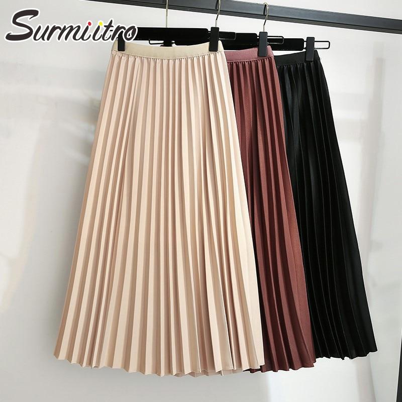 Surmiitro Midi Pleated Skirt Women For Autumn Winter 2019 Casual Ladies Korean High Waist A Line Long Skirt Female