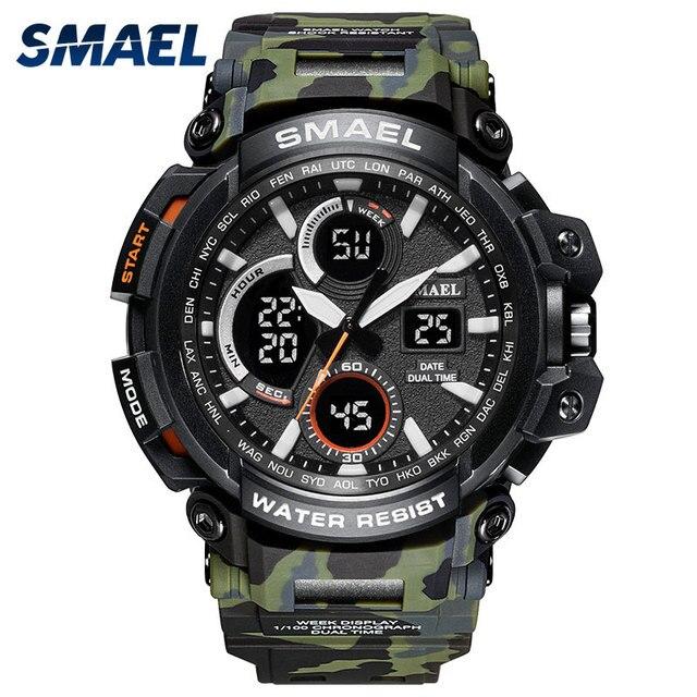 cefd693ec619 2018 nuevo camuflaje Deporte Militar reloj impermeable LED reloj de pulsera  Digital Shock S ejército relojes