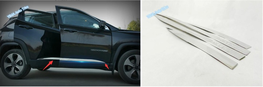 New Style For Jeep Compass 2017 2018 Stainless Steel Side Door Body Molding Decoration Strip Cover Trim 4 Pcs / Set