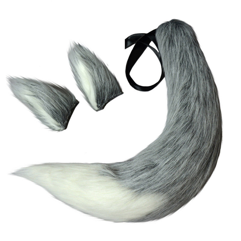 Gray Anime Spice And Wolf Cosplay Headwear Wolf Tails Halloween Cosplay Accessories Wolf Ears Stage Show Props For Girls Unisex