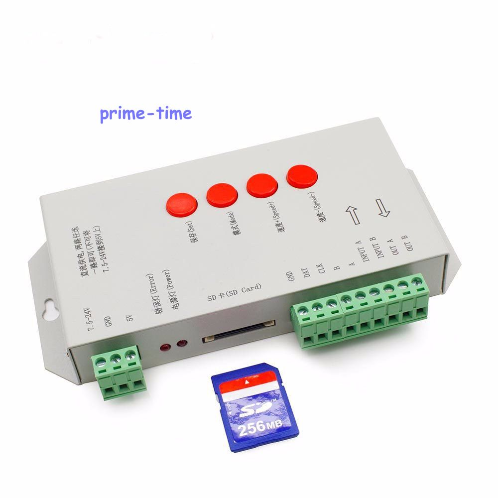 ФОТО T1000S SD Card WS2801 WS2811 WS2812B LPD6803 LED 2048 Pixels Controller DC5~24V T-1000S RGB Controller
