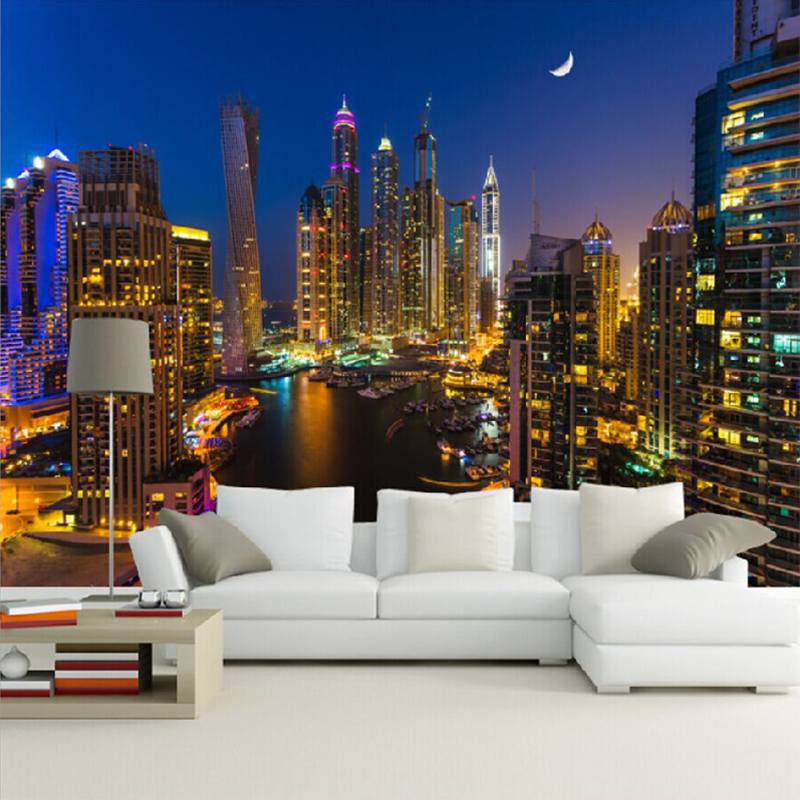 Beibehang benutzerdefinierte 3d fototapete dubai stadt nachtansicht gro e wandmalerei wohnzimmer - Wandmalerei wohnzimmer ...