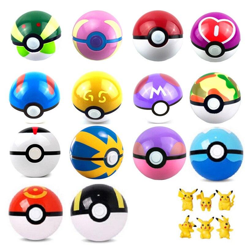 7cm 13Colors 1Pcs Pokeball + 1Pcs Free Random <font><b>Figures</b></font> Inside <font><b>Anime</b></font> Kids <font><b>Action</b></font> <font><b>Figures</b></font> <font><b>Poke</b></font> Ball Toys <font><b>Elves</b></font> Ball <font><b>Pikachu</b></font> Pokemon