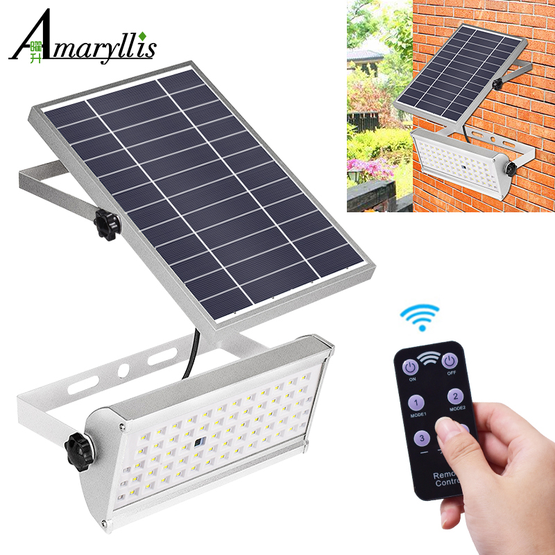 1500lm Solar Lights Outdoor Garden Waterproof Lamp Lighting 65 Leds Two Working Mode With Remote Control Motion Sensor Light